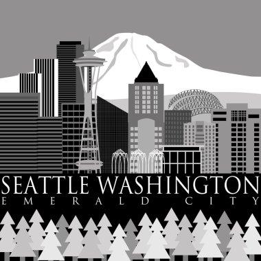 Seattle Downtown Skyline with Mount Rainier