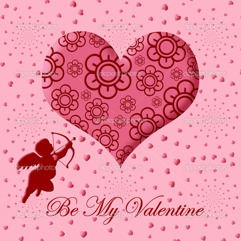 Valentine S Day Cupid With Bow And Arrow Pink Heart Stock Photo