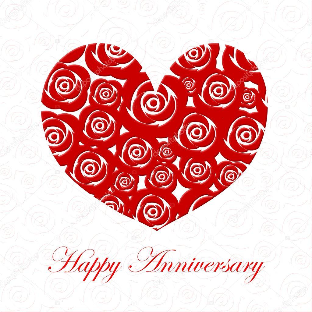 corazón día feliz aniversario con rosas rojas foto de stock
