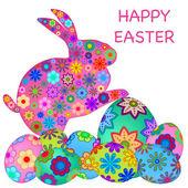 Fényképek Boldog húsvéti nyuszi nyúl-val színes tojás