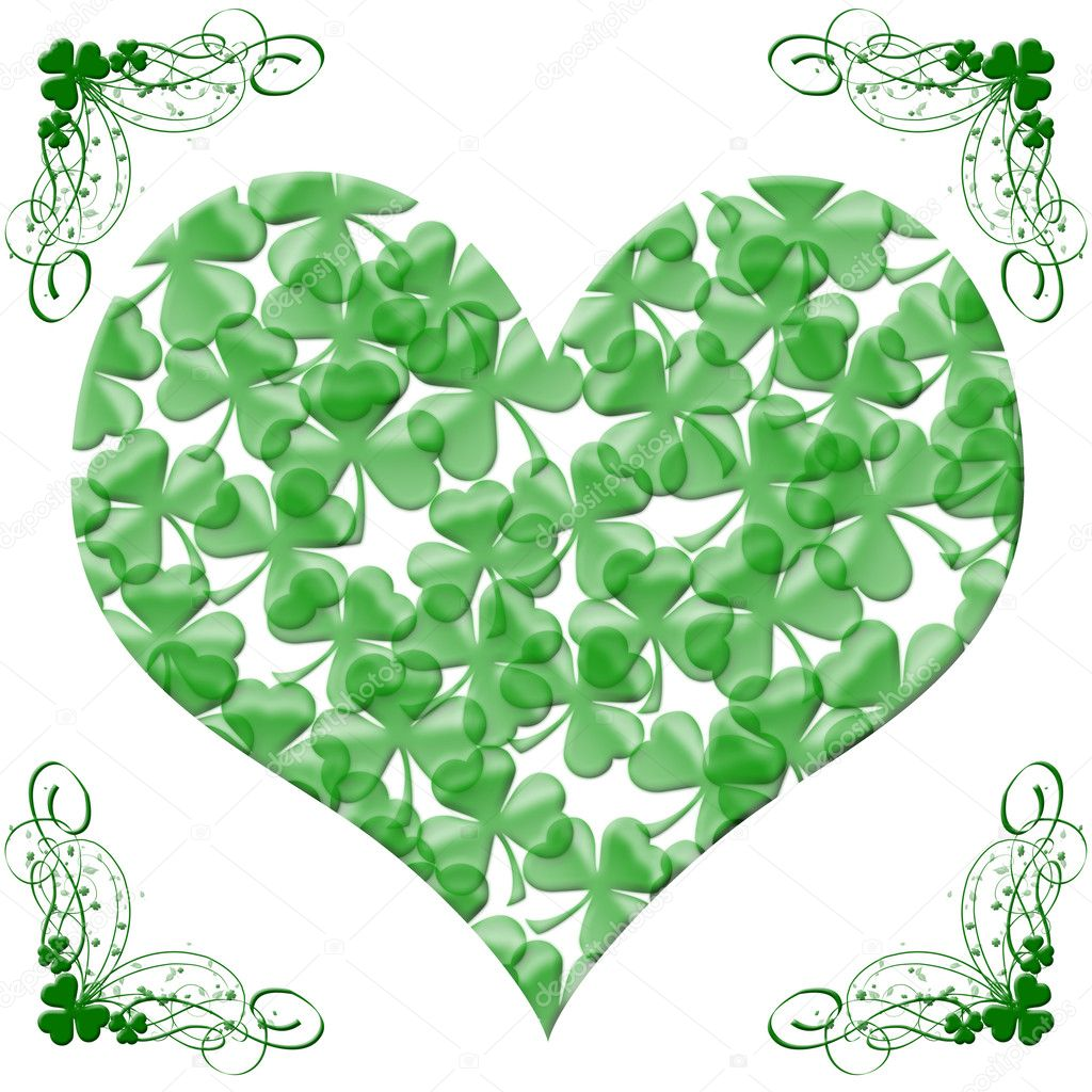 happy st patricks day heart of shamrock leaves u2014 stock photo