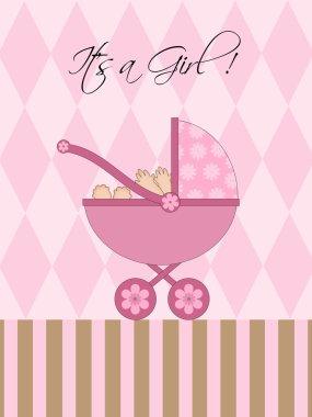 Its A Girl Pink Baby Pram