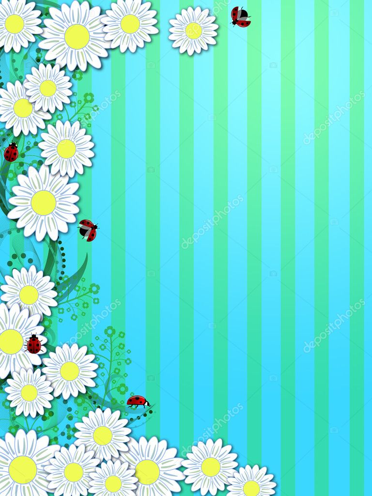 Spring Time Daisies Ladybugs Vertical Background