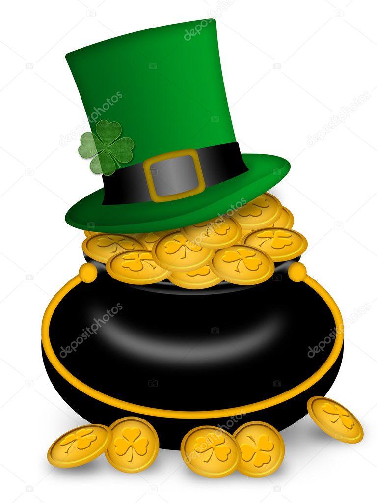 saint patricks day pot of gold and hat u2014 stock photo davidgn