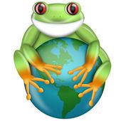 raganella verde dagli occhi rossi abbracciare il pianeta terra