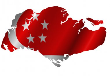 Republic of Singapore Map with Flag Silhouette