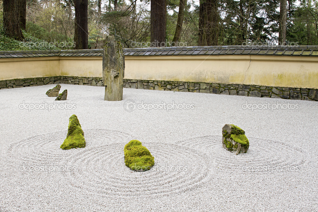 Japanese stone and sand garden with tiled roof wall for Beach rocks for landscaping