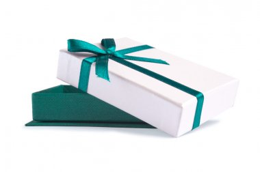 Single present box with green ribbon isolated on white stock vector
