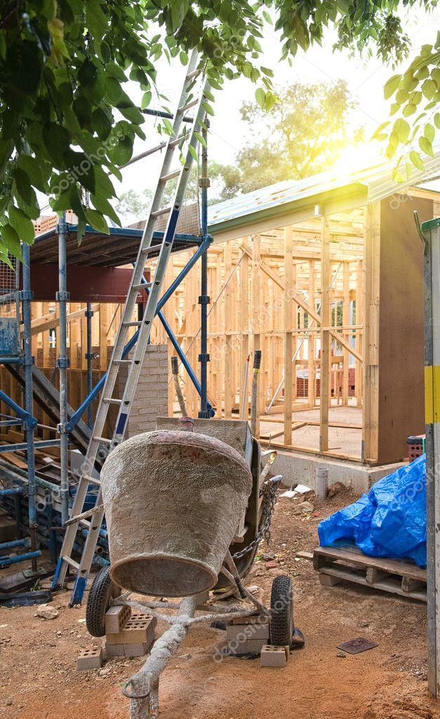 mezclador de concreto en la construcción de citar — Fotos de Stock ...