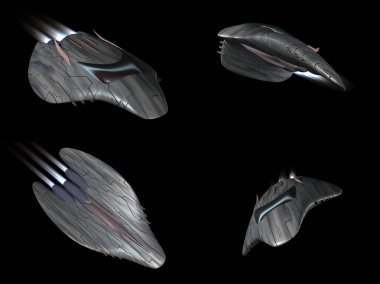 Four views of a powerful spaceship in action