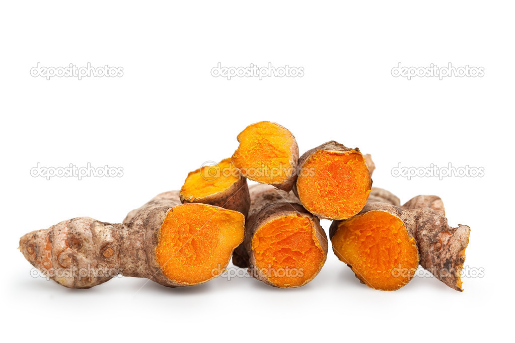 Fresh Cut Turmeric Isolated