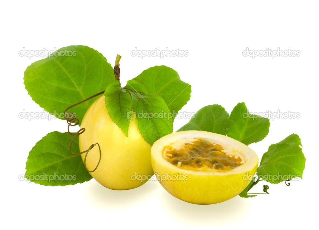 Cut and Complete Passion Fruit Isolated
