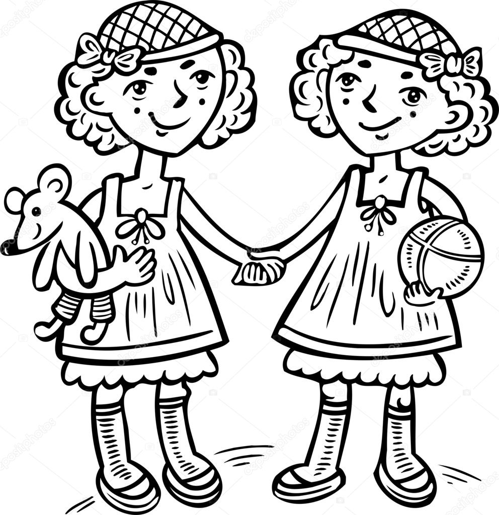 Girl Toys Color : Two girls with toys ildren — stock vector digital