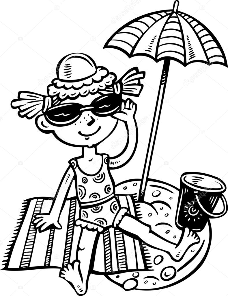 girl in the sun goggles at the beach.children. — stock vector