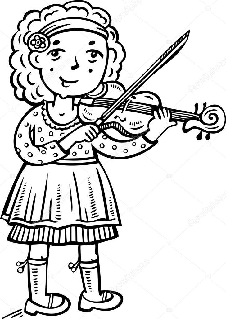 Girl Playing The Violin Children