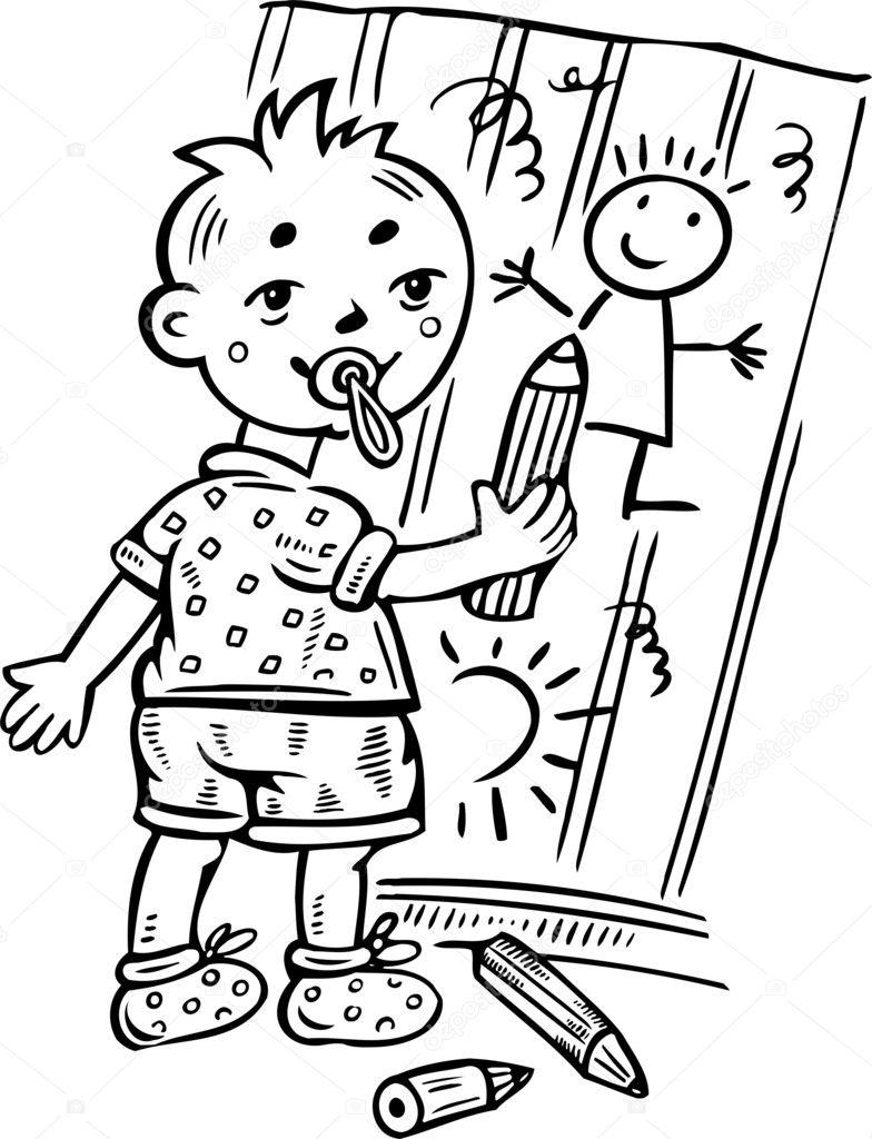 Zeichnung Auf Dem Zaun Baby Stockvektor C Digital Clipart 4692472