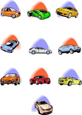 Ten passenger cars. Cars.