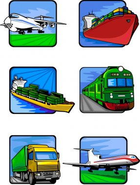 Six pictures of vehicles. Transport mashines.
