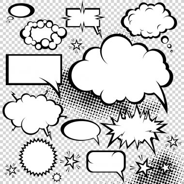 Comic bubbles collection. Funny design vector items.