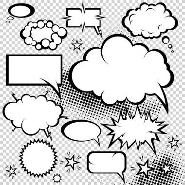 Comic bubbles collection. Funny design vector items. stock vector