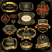 Retro vector gold frames on black background. Premium design elements.