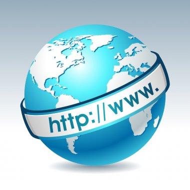 Globe with internet adress. Clean vector illustration on gradient background. Web design element.