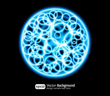 Eps10 bright effects round blue background