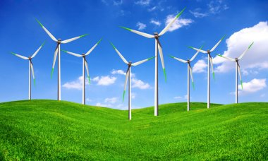 Eco energy - wind turbines farm stock vector