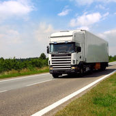 bílá dodávka asfaltové silnici