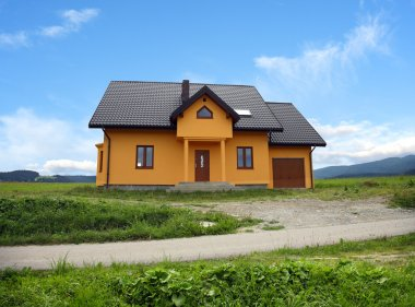 New house in country landscape