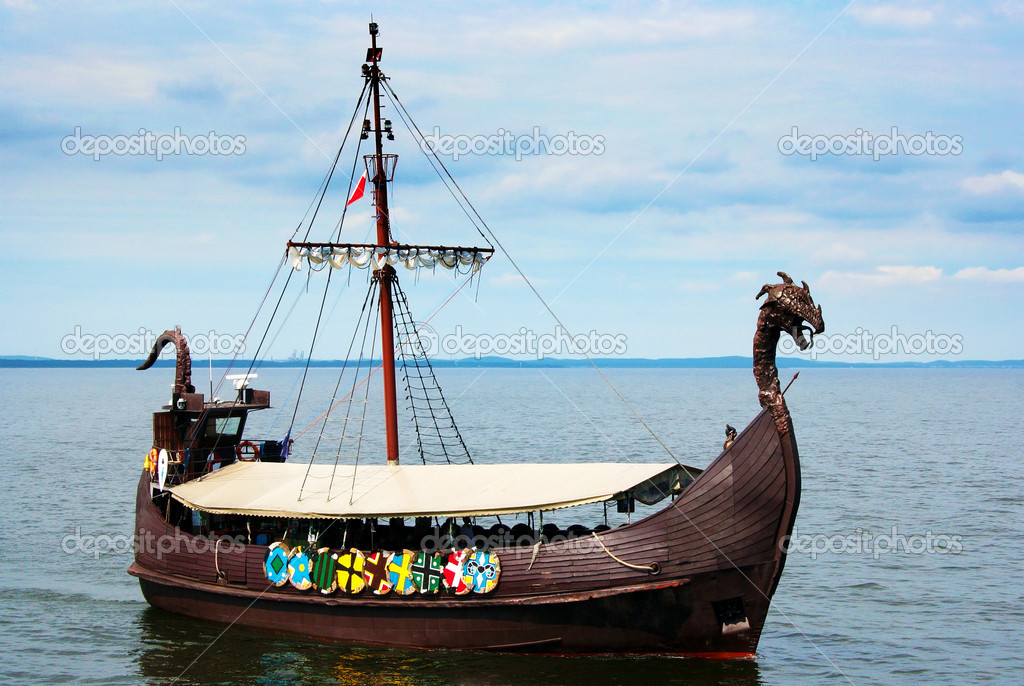 Viking ship on the sea