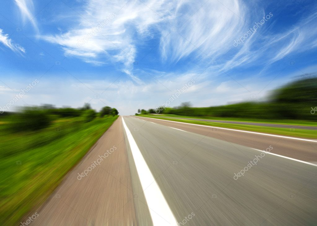 High speed road with cloud background