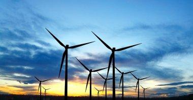 Wind turbines stock vector
