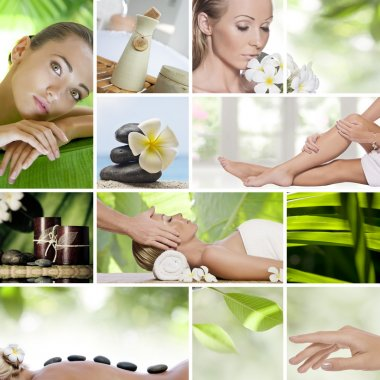 Spa theme photo collage composed of different images stock vector