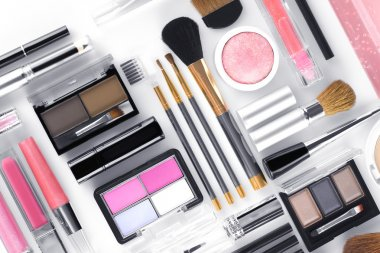 Close up view of cosmetic theme objects on white back stock vector