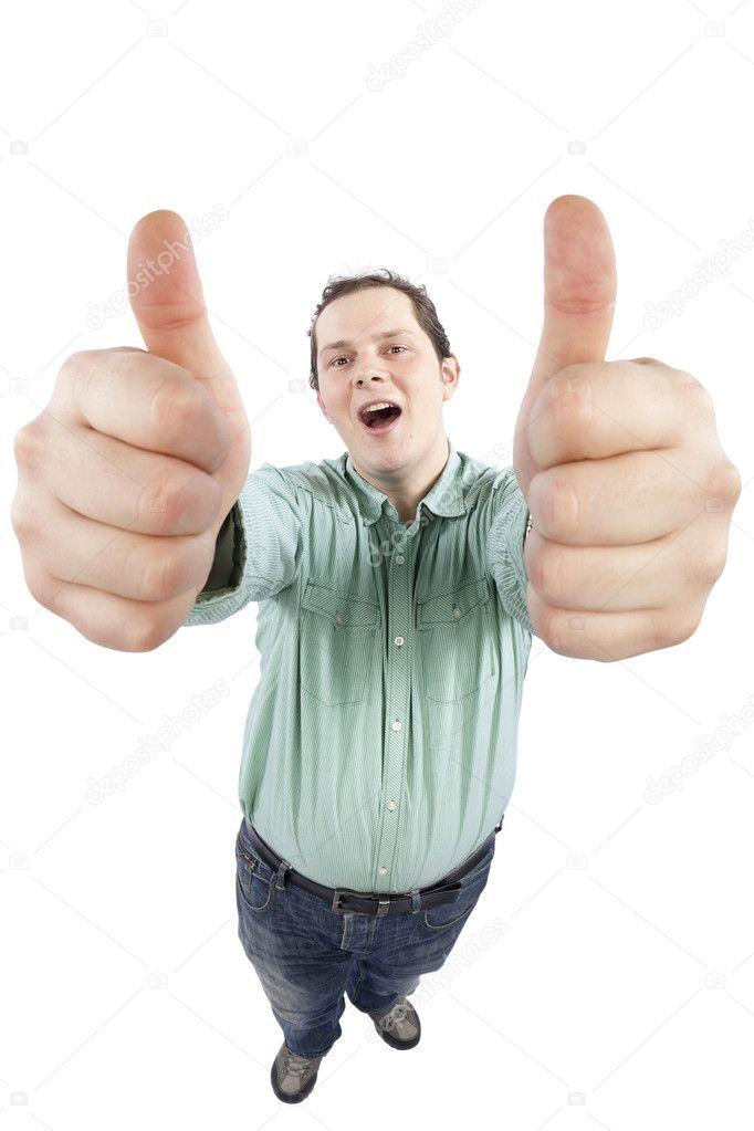 gai jeune homme gesticulant ok signe avec les deux mains photographie igooana 5013005. Black Bedroom Furniture Sets. Home Design Ideas