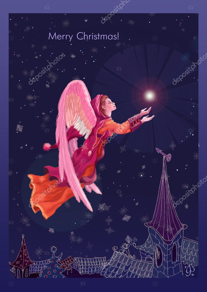 Christmas Angel With A Star In The Night Sky Stock Photo