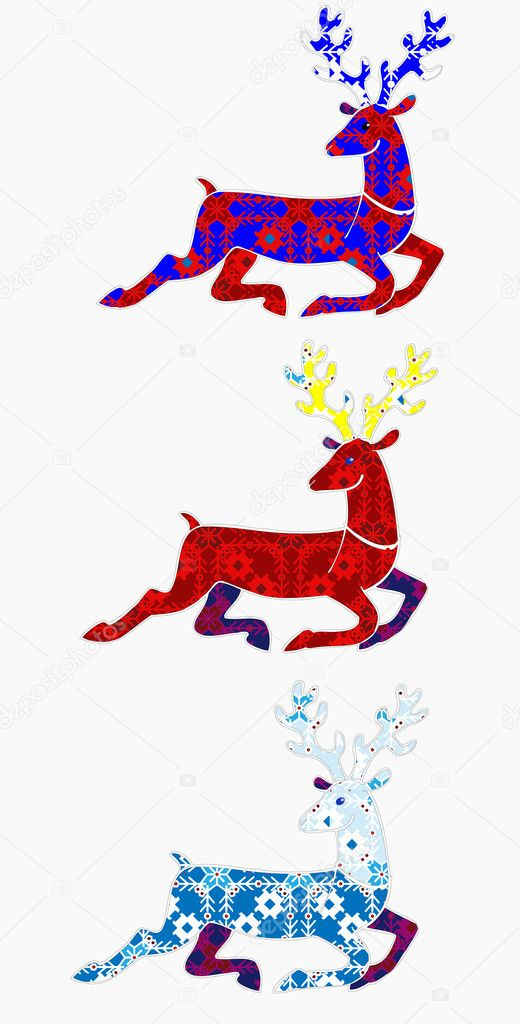 christmas running deer silhouette with a traditional texture with snowflakes vector by flamewave