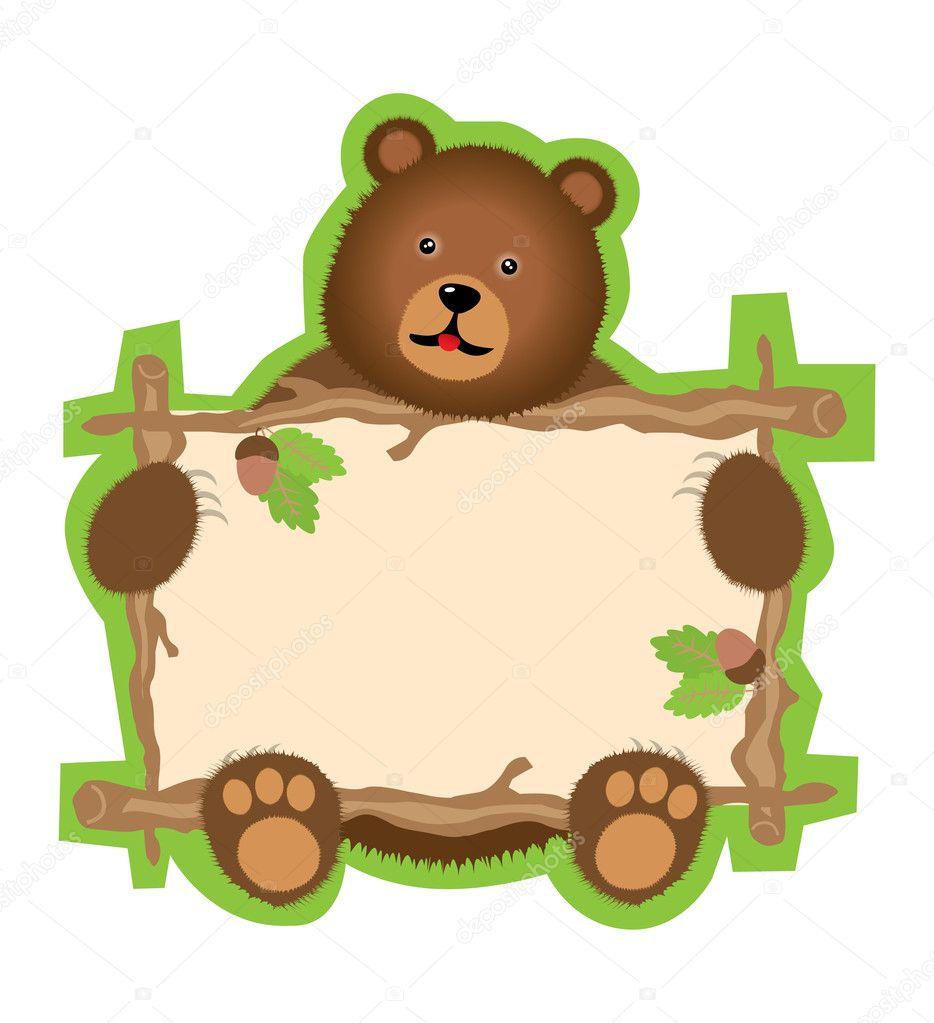 Teddy bear with frame — Stock Vector © Makc76 #4729517