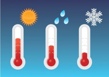 Three thermometers heat, cold, rain. There is also a vector. clip art vector