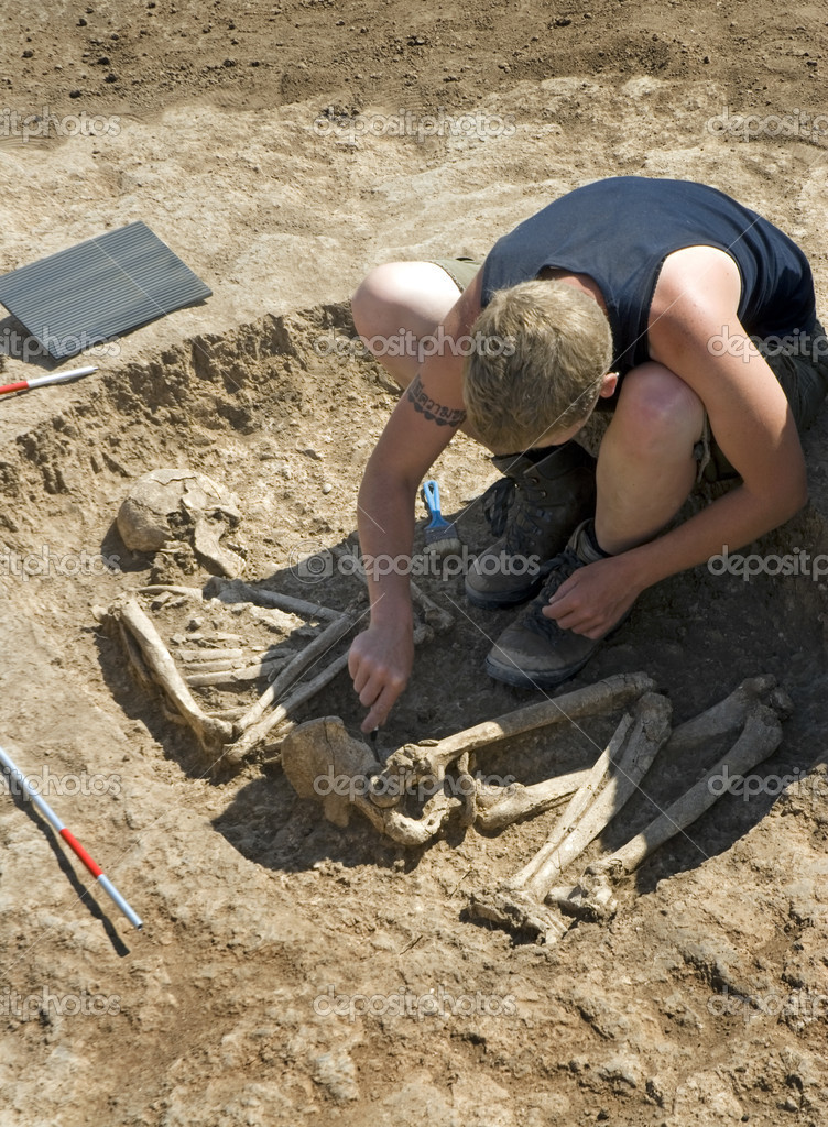 Depositphotos Stock Photo Archaeologist Excavating Ancient Burial