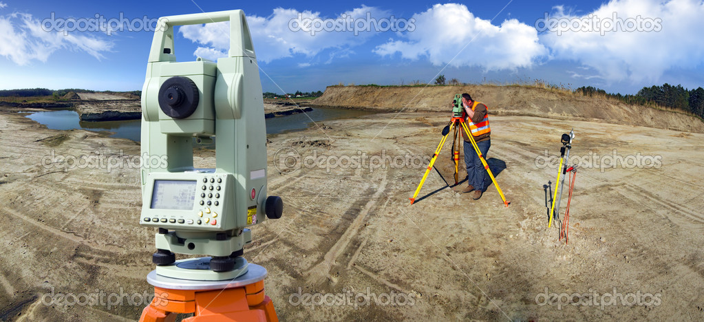 Theodolite survey outdoors