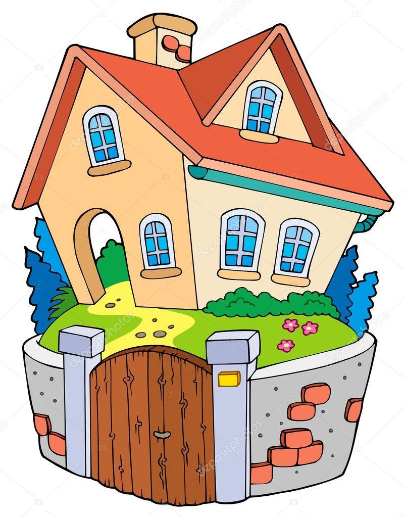 Maison de famille de dessin animé illustration de stock