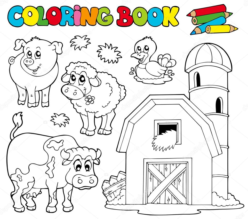 coloring book with farm animals 1 vector illustration vector by clairev - Animals Coloring Book