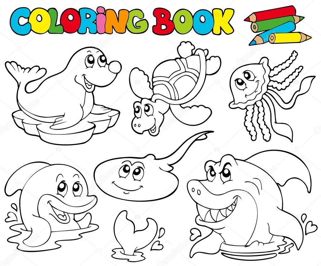 libro para colorear con animales marinos 1 — Vector de stock ...