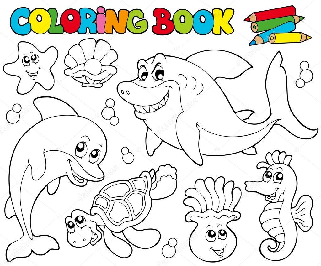 Deniz Hayvanları 2 Ile Boyama Kitabı Stok Vektör Clairev
