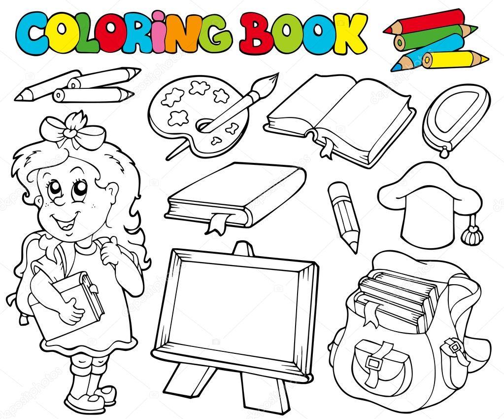 Coloriage Theme Ecole.Livre De Coloriage Avec Le Theme De L Ecole 1 Image Vectorielle