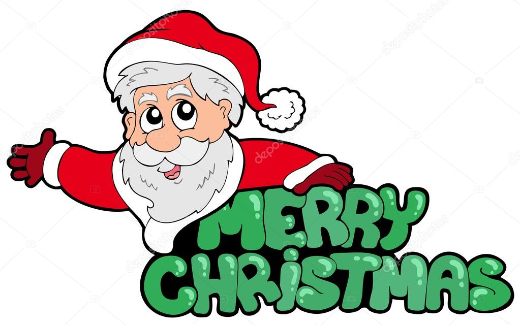 merry christmas sign with santa stock vector clairev 3947028