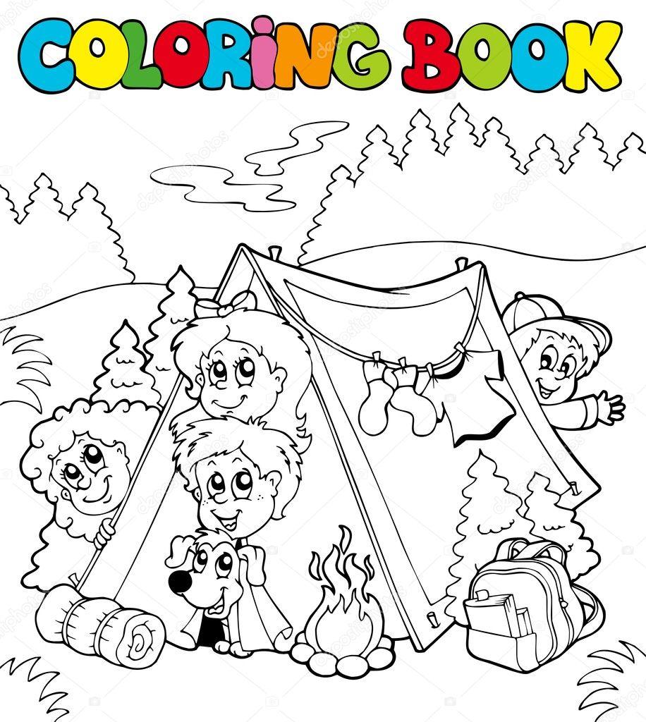 libro para colorear con los niños camping — Vector de stock ...