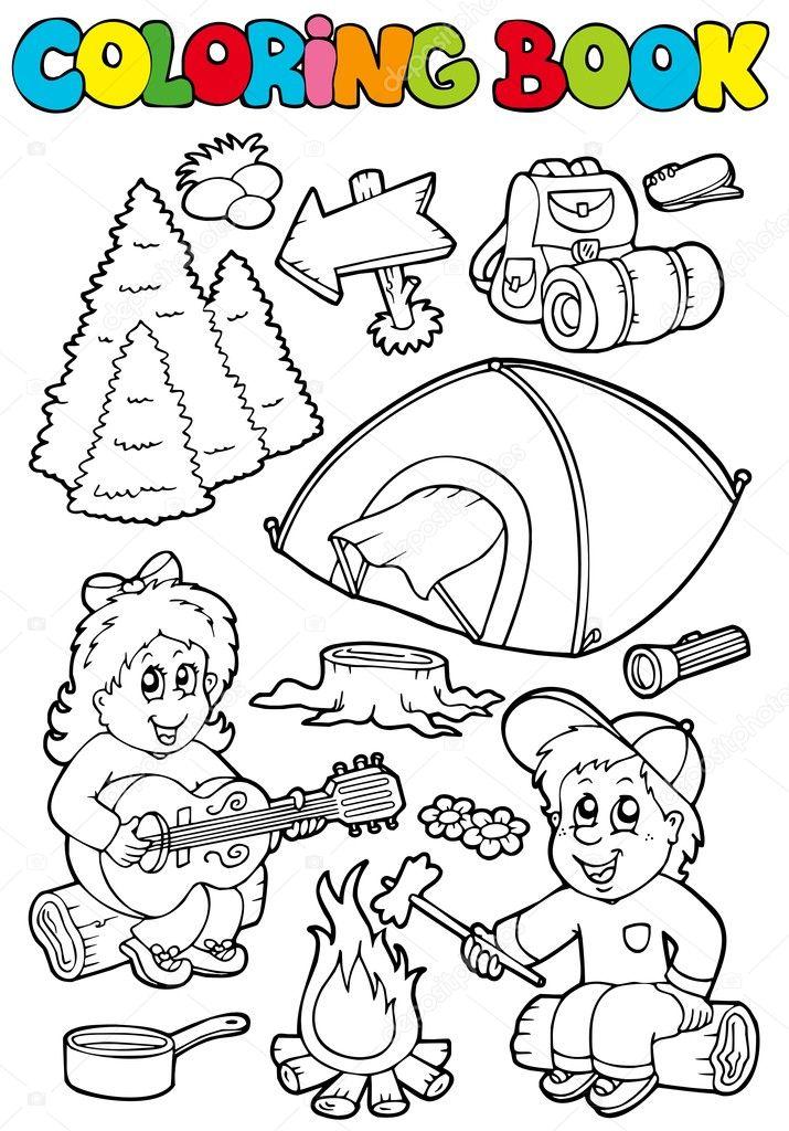 libro de colorear con tema de camping — Vector de stock © clairev ...